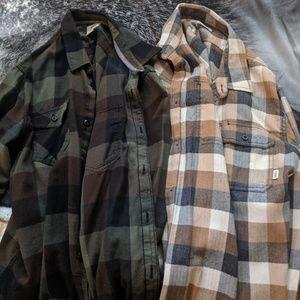 Lot of 2 Vans Men's Large button up flannel shirts
